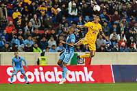 HARRISON, NJ - MARCH 11: Francisco Meza #21 of Tigres UANL goes up for a header with Heber Araujo #9 of NYCFC during a game between Tigres UANL and NYCFC at Red Bull Arena on March 11, 2020 in Harrison, New Jersey.