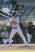 Gavin Jones (23) of the Stockton Ports bats against the Inland Empire 66ers at San Manuel Stadium on June 27 2021 in San Bernardino, California. (Larry Goren/Four Seam Images)