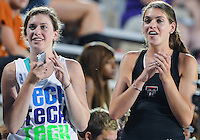May 25, 2013: Supporter of Texas Tech University cheer athletes at the conclusion of 5000 meters quarterfinal during NCAA Outdoor Track & Field Championships West Preliminary at Mike A. Myers Stadium in Austin, TX.