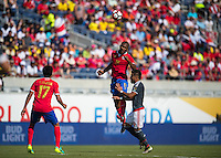 Orlando, Florida - Saturday, June 04, 2016: Costa Rican defender Kendall Watson (19) heads the ball during a Group A Copa America Centenario match between Costa Rica and Paraguay at Camping World Stadium.
