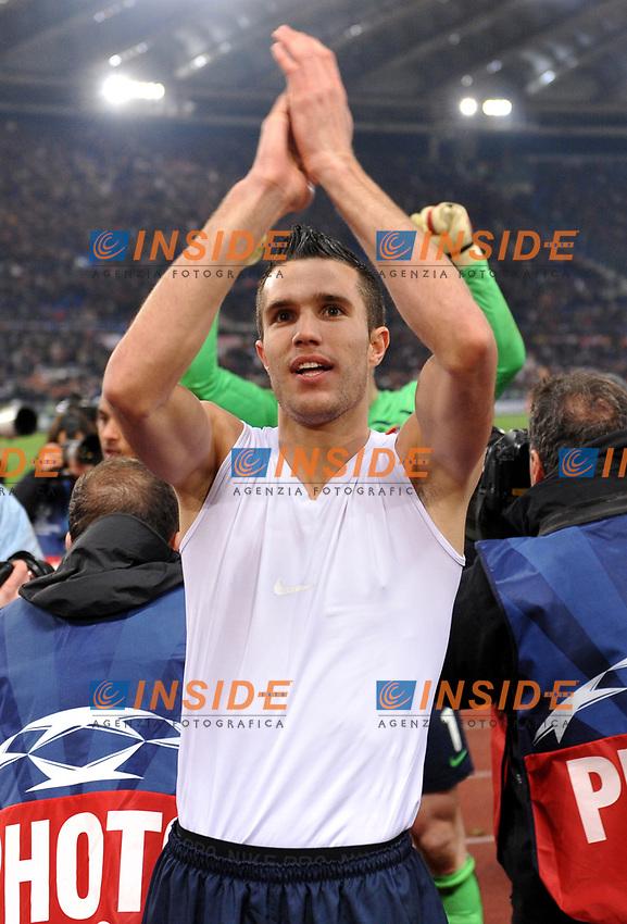 "robin van persie (arsenal) festeggia la vittoria<br /> Roma 11/3/2009 Stadio ""Olimpico"" <br /> Champions League First Knockout round 2nd Leg ""2008/2009"" <br /> Roma Arsenal <br /> foto Massimo Oliva Insidefoto"