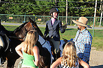 Happy rider after horse show at Cheshire Fair in Swanzey, New Hampshire USA
