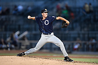 Pitcher Christian Morris (28) of the Charleston RiverDogs delivers a pitch in a game against the Columbia Fireflies on Monday, August 7, 2017, at Spirit Communications Park in Columbia, South Carolina. Columbia won, 6-4. (Tom Priddy/Four Seam Images)