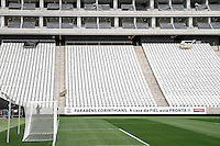 SÃO PAULO,01.05.2015 -EVENTO ARENA CORINTHIANS -  O início da operação da Arena Corinthians foi marcado por outro evento importante. Por iniciativa do clube, os dois primeiros jogos da história do estádio serão disputados por quem nele trabalhou duro por quase três anos e construiu o sonho de mais de 30 milhões de corinthianos: os operários da Odebrecht empresa responsável pela construção do estádio e seus subcontratados. Os dois duelos, com 20 minutos em cada tempo, aconteceu nesta quinta-feira (01).(Foto Ale Vianna/Brazil Photo Press).