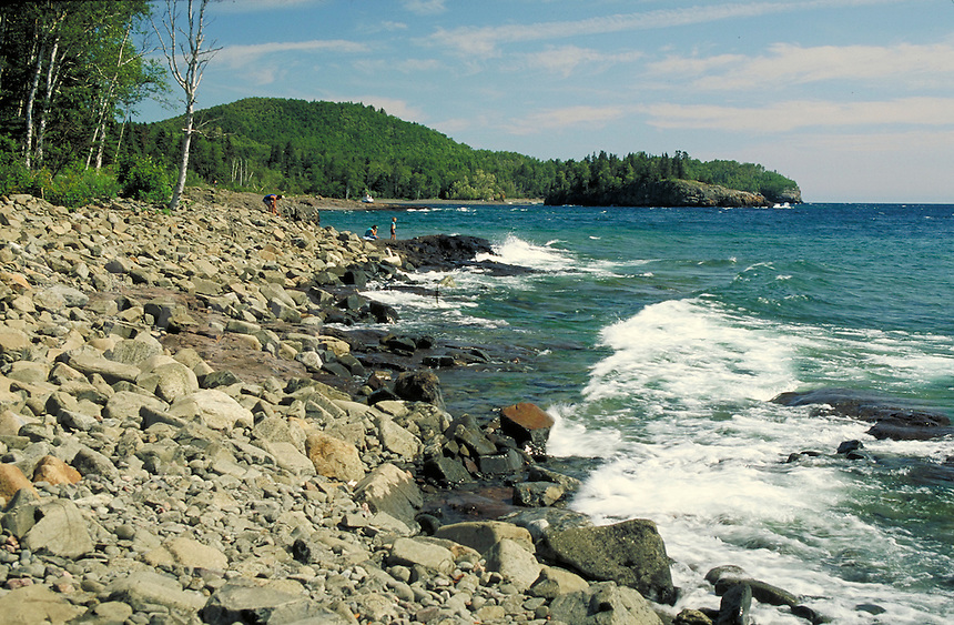 Lake Superior shoreline at Split Rock Lighthouse State Park near Two Harbors. Two Harbors Minnesota USA Lake Superior.