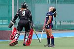 v.li.: Femke Jovy (Torwart, Mülheim, 6) ist Siegerin gegen Lucina von der Heyde (MHC, 2), enttäuscht schauend, Enttäuschung, Frustration, disappointed, pessimistisch, Penalty shoot-out, Penaltyschießen, Entscheidung, Action, Aktion, 01.05.2021, Mannheim  (Deutschland), Hockey, Deutsche Meisterschaft, Viertelfinale, Damen, Mannheimer HC - HTC Uhlenhorst Mülheim <br /> <br /> Foto © PIX-Sportfotos *** Foto ist honorarpflichtig! *** Auf Anfrage in hoeherer Qualitaet/Aufloesung. Belegexemplar erbeten. Veroeffentlichung ausschliesslich fuer journalistisch-publizistische Zwecke. For editorial use only.