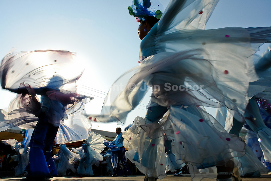 Colombian men and women, performing flying birds, dance during the Carnival in Barranquilla, Colombia, 27 February 2006. The Carnival of Barranquilla is a unique festivity which takes place every year during February or March on the Caribbean coast of Colombia. A colourful mixture of the ancient African tribal dances and the Spanish music influence - cumbia, porro, mapale, puya, congo among others - hit for five days nearly all central streets of Barranquilla. Those traditions kept for centuries by Black African slaves have had the great impact on Colombian culture and Colombian society. In November 2003 the Carnival of Barranquilla was proclaimed as the Masterpiece of the Oral and Intangible Heritage of Humanity by UNESCO.