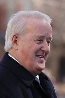 Former Canadian Prime Minister Brian Mulroney<br /> attend<br /> the funerals of Jean Lapierre, former politician and media,<br />  April 16, 2016 in Outremont.<br /> <br /> Photo : Pierre Roussel - Agence Quebec Presse<br /> <br /> <br /> <br /> <br /> <br /> <br /> <br /> <br /> .