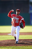 Batavia Muckdogs starting pitcher Javier Garcia (36) during a game against the Aberdeen Ironbirds on July 14, 2016 at Dwyer Stadium in Batavia, New York.  Aberdeen defeated Batavia 8-2. (Mike Janes/Four Seam Images)