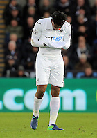 Leroy Fer of Swansea City checks his face for injuries after a foul he suffered by Zlatan Ibrahimovic of Manchester City during the Premier League match between Swansea City and Manchester United at The Liberty Stadium, Swansea, Wales, UK. Sunday 06 November 2016