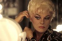 EXCLUSIVE  FILE PHOTO :  Jean Guilda backstage doing his transformation into  GUILDA  female impersonator, 1997<br /> <br /> <br /> PHOTO :  Agence Quebec Presse