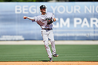 Jackson Generals shortstop Kevin Medrano (6) throws to first base during a game against the Biloxi Shuckers on April 23, 2017 at MGM Park in Biloxi, Mississippi.  Biloxi defeated Jackson 3-2.  (Mike Janes/Four Seam Images)