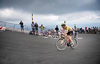 Tadej Pogacar (SVN/UAE-Emirates) up the Mont Ventoux<br /> <br /> Stage 11 from Sorgues to Malaucène (199km) running twice over the infamous Mont Ventoux<br /> 108th Tour de France 2021 (2.UWT)<br /> <br /> ©kramon