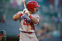 Peoria Chiefs Edwin Figuera (12) during a Midwest League game against the Fort Wayne TinCaps on July 17, 2019 at Parkview Field in Fort Wayne, Indiana.  Fort Wayne defeated Peoria 6-2.  (Mike Janes/Four Seam Images)