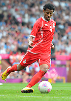 July 26, 2012..UAE's Mohamed Ahmad (4). UAE vs Uruguay Football match during 2012 Olympic Games at Old Trafford in Manchester, England. Uruguay defeat United Arab Emirates 2-1...