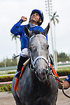 HALLANDALE BEACH, FL - JANUARY 14: Scenes from Gulfstream Park, Zennor with jockey Paco Lopez up at Gulfstream Park. (Photo by Arron Haggart/Eclipse Sportswire/Getty Images