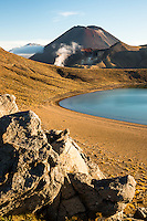 Views of Mount Ngaruhoe and Red Crater across Blue Lake, Tongariro National Park, Central Plateau, North Island, UNESCO World Heritage Area, New Zealand, NZ
