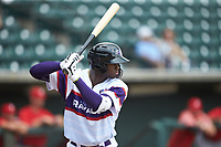 Luis Robert (21) of the Winston-Salem Rayados at bat against the Potomac Nationals at BB&T Ballpark on August 12, 2018 in Winston-Salem, North Carolina. The Rayados defeated the Nationals 6-3. (Brian Westerholt/Four Seam Images)