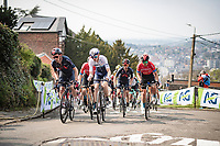 peloton led by Tao Geoghegan Hart (GBR/INEOS Grenadiers) up the infamous Mur de Huy<br /> <br /> 85th La Flèche Wallonne 2021 (1.UWT)<br /> 1 day race from Charleroi to the Mur de Huy (BEL): 194km<br /> <br /> ©kramon