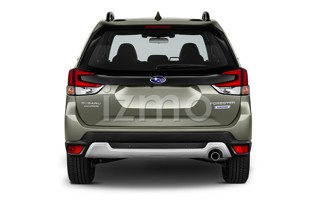 Straight rear view of 2019 Subaru Forester e-Boxer-Premium 5 Door SUV Rear View  stock images
