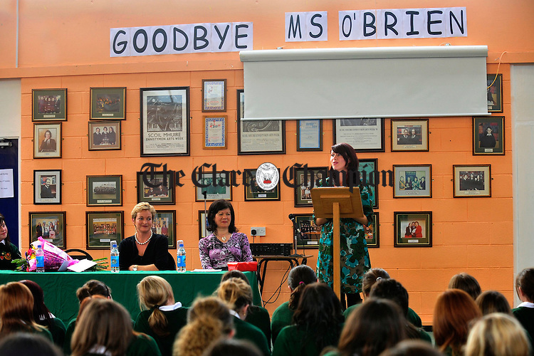 Joanne O' Brien, former teacher at Scoil Mhuire in Ennistymon says godbye to students as she leaves to take up a post in Kildysart. Photograph by Declan Monaghan