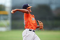 GCL Astros third baseman Wander Franco (22) throws to first during a game against the GCL Nationals on August 14, 2016 at the Carl Barger Baseball Complex in Viera, Florida.  GCL Nationals defeated GCL Astros 8-6.  (Mike Janes/Four Seam Images)