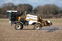 26-2-2021 Spraying glyphosate on over Winter stubbles.<br /> ©Tim Scrivener Photographer 07850 303986<br />      ....Covering Agriculture In The UK....