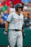 Jeff Bianchi (6) of the Northwest Arkansas Naturals walks back to the dugout after striking out during a game against the Springfield Cardinals and the Springfield Cardinals at Hammons Field on July 30, 2011 in Springfield, Missouri. Springfield defeated Northwest Arkansas 11-5. (David Welker / Four Seam Images)