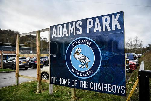 21st November 2020; Adams Park Stadium, Wycombe, Buckinghamshire, England; English Football League Championship Football, Wycombe Wanderers versus Brentford; Sign outside Adams Park.