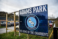 21st November 2020; Adams Park Stadium, Wycombe, Buckinghamshire, England; English Football League Championship Football, Wycombe Wanderers versus Brentford; Sign outside Adams Park.