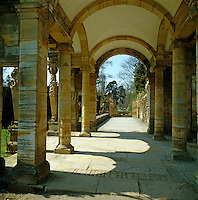 View down the classical colonnade at Hever Castle