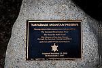 Turtleback Mountain Preserve Trail Sign, Dedication Plaque