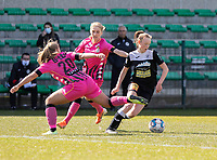 Megane Vos (20) of Sporting Charleroi and Ludmila Matavkova (9) of Sporting Charleroi and Loes Van Mullem (33) of Eendracht Aalst pictured during a female soccer game between Eendracht Aalst and Sporting Charleroi on the third matchday of play off 2 of the 2020 - 2021 season of Belgian Scooore Womens Super League , Saturday 24 th of April 2021  in Aalst , Belgium . PHOTO SPORTPIX.BE | SPP | KRISTOF DE MOOR
