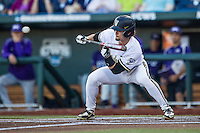 Vanderbilt Commodores outfielder Rhett Wiseman (8) squares to bunt against the TCU Horned Frogs in Game 12 of the NCAA College World Series on June 19, 2015 at TD Ameritrade Park in Omaha, Nebraska. The Commodores defeated TCU 7-1. (Andrew Woolley/Four Seam Images)