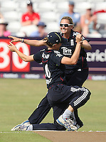 Laura Marsh of England (R) celebrates the wicket of Suzie Bates - England Women vs New Zealand Women - First match of the NatWest summer T20 cricket series at the Ford County Ground, home of Essex CCC, Chelmsford -  29/06/10 - MANDATORY CREDIT: Gavin Ellis/TGSPHOTO - Self billing applies where appropriate - Tel: 0845 094 6026
