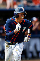 Jake Jefferies #4 of the Cal State Fullerton Titans runs the bases  against the Oregon Ducks at Goodwin Field on March 3, 2013 in Fullerton, California. (Larry Goren/Four Seam Images)