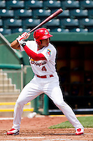 Thomas Pham (4) of the Springfield Cardinals at bat during a game against the Midland RockHounds on April 19, 2011 at Hammons Field in Springfield, Missouri.  Photo By David Welker/Four Seam Images