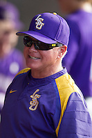 LSU Tigers coach Paul Mainieri in the dugout before the game against the Texas A&M Aggies in the NCAA Southeastern Conference on May 10, 2013 at Blue Bell Park in College Station, Texas. LSU defeated Texas A&M 7-4. (Andrew Woolley/Four Seam Images).