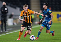 Hull City's Thomas Mayer battles with Grimsby Town's Kyle Bennett<br /> <br /> Photographer Alex Dodd/CameraSport<br /> <br /> EFL Papa John's Trophy - Northern Section - Group H - Hull City v Grimsby Town - Tuesday 17th November 2020 - KCOM Stadium - Kingston upon Hull<br />  <br /> World Copyright © 2020 CameraSport. All rights reserved. 43 Linden Ave. Countesthorpe. Leicester. England. LE8 5PG - Tel: +44 (0) 116 277 4147 - admin@camerasport.com - www.camerasport.com