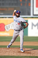 Kyle Friedrichs (11) of the Stockton Ports pitches against the Rancho Cucamonga Quakes at Loan Mart Field on July 16, 2017 in Rancho Cucamonga, California. Rancho Cucamonga defeated Stockton 9-1. (Larry Goren/Four Seam Images)