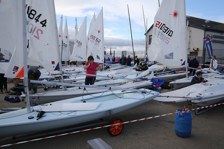The massive dinghy fleet prepares to go afloat on Saturday morning