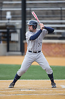 Nick Collins (33) of the Georgetown Hoyas at bat against the Bucknell Bison at Wake Forest Baseball Park on February 14, 2015 in Winston-Salem, North Carolina.  The Hoyas defeated the Bison 8-5.  (Brian Westerholt/Four Seam Images)