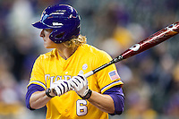 LSU Tigers outfielder Andrew Stevenson (6) at bat during the Houston College Classic against the Nebraska Cornhuskers on March 8, 2015 at Minute Maid Park in Houston, Texas. LSU defeated Nebraska 4-2. (Andrew Woolley/Four Seam Images)