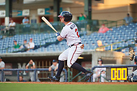 Mississippi Braves right fielder Tyler Neslony (2) follows through on a swing during a game against the Mobile BayBears on May 7, 2018 at Trustmark park in Pearl, Mississippi.  Mobile defeated Mississippi 5-0.  (Mike Janes/Four Seam Images)