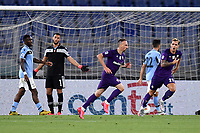 Franck Ribery of Fiorentina celebrates after scoring the goal of 0-1 during the Serie A football match between SS Lazio and ACF Fiorentina at stadio Olimpico in Roma ( Italy ), June 27th, 2020. Play resumes behind closed doors following the outbreak of the coronavirus disease. Photo Antonietta Baldassarre / Insidefoto