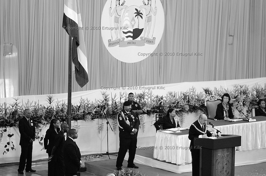 Inauguration ceremony of Desiré Delano Bouterse, the new President of Suriname and Robert Ameerali the Vice President of Suriname at Anthony Nesty Sporthal (ANS)
