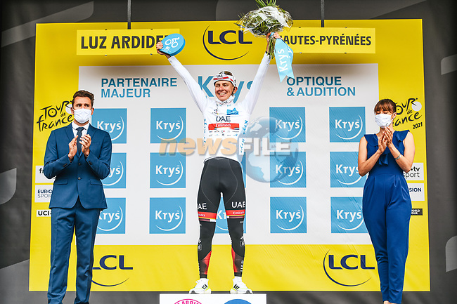 Race leader Tadej Pogacar (SLO) UAE Team Emirates wins  Stage 18 and also retains the young riders White Jersey of the 2021 Tour de France, running 129.7km from Pau to Luz Ardiden, France. 15th July 2021.  <br /> Picture: A.S.O./Charly Lopez | Cyclefile<br /> <br /> All photos usage must carry mandatory copyright credit (© Cyclefile | A.S.O./Charly Lopez)