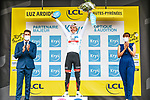 Race leader Tadej Pogacar (SLO) UAE Team Emirates wins  Stage 18 and also retains the young riders White Jersey of the 2021 Tour de France, running 129.7km from Pau to Luz Ardiden, France. 15th July 2021.  <br /> Picture: A.S.O./Charly Lopez   Cyclefile<br /> <br /> All photos usage must carry mandatory copyright credit (© Cyclefile   A.S.O./Charly Lopez)