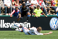 April 11, 2009:  Justin Mapp of Fire and Arturo Alvarez of Earthquakes in action at Buck Shaw Stadium in Santa Clara, California. San Jose Earthquakes and Chicago Fire tied, 3-3