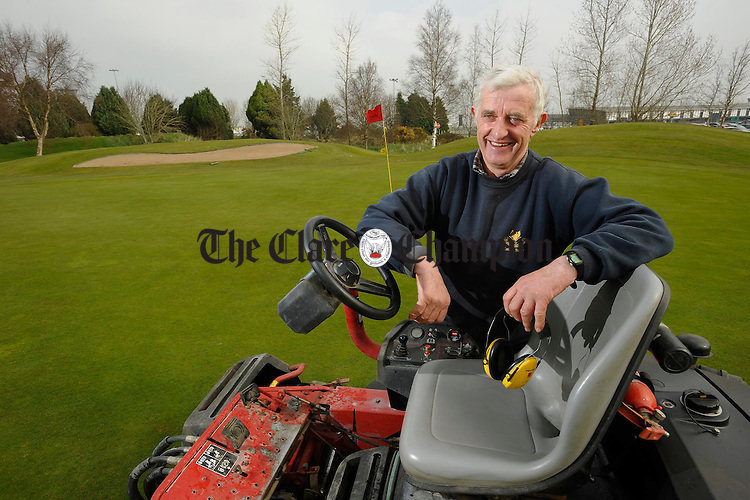 Pat Henchy, who is retiring from the greenkeeper staff of Shannon Golf  after 37years service. Photograph by John Kelly.